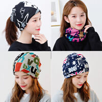 Womens Girl Stretch Hat Ponytail Beanie Holey Warm Cap Neckerchief Scarf Scarves