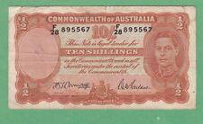 Australia 10 Shillings Notes P-25b Fine