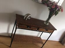 Brown Rattan & Metal frame Console Table 77cm Height 1m Width and 38cm Depth.