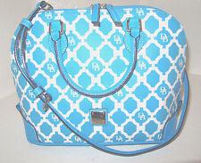 Dooney & Bourke Sanibel Turquoise White Canvas Coated Zip Zip Satchel NWT $228