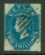 SG 37 Ceylon 1861-64. Rough perf 14x15½, 2/- very fine used CAT £200