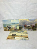 3 X Vintage Original Oil On Board Paintings. Beached Boats And Landscapes