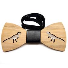 nœud papillon bois bambou décor dinosaure simili cuir noir 100% neuf