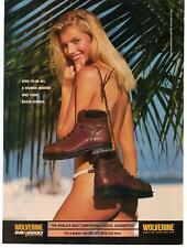 2000 Magazine Advertisement Page Wolverine Dura Shocks Boots Sexy Woman Beach Ad
