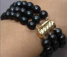 """3 ROW AAA 8-9MM 100% natural BLACK ROUND PEARL Knot BRACELET 7.5"""""""