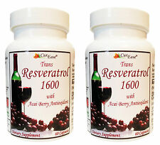 2 CurEase ~ TRANS RESVERATROL ~ GRAPE SKIN ~ ACAI BERRY CAPSULES / PILLS 1600mg