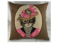 """18"""" FASHIONABLE CAT in PINK Belgian Woven Tapestry Cushion  Cats (45cm)"""
