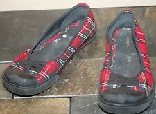 r- Shoes Womens Sz 7.5 Ballet Flat Tennis Shoes In Red Plaid Comfy And Cute