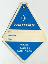 QANTAS AIRLINES ~AUSTRALIA~ Old Cabin Baggage Luggage Tag, c. 1970