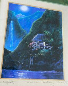 "Framed Print Dawn Lundquist Hawaiian Fantasy Maui 1993 Hawaii Hut Mountain 12"""