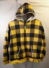 GIRLS LANDS END SHERPA FLEECE LINED HOODIE JACKET LARGE 14 16