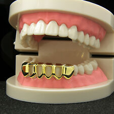 Custom Fit 14k Gold Plated Hip Hop Teeth Open Hollow Grillz Caps Bottom Grill