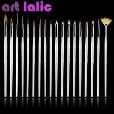 15 UV GEL & Acrylic Nail Art Design Dotting Painting Pen Polish Brush Set WHITE