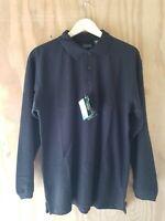 UltraClub Women's Polo T-Shirt Long Sleeve Whisper Pique Oversize Black. Size M