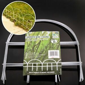 PACK OF 6 WHITE WIRE GARDEN PATH WAY LAWN EDGING BORDER FENCE PANEL