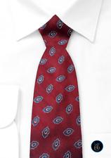 Burberrys of London Red Maroon Classic Geo Ovals 100% Silk Necktie Tie RARE