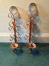 Pair Scrolled Metal Wall Candleholder Large Wrought Iron Candle Sconce Tuscan