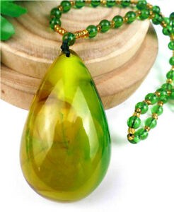 65x38x21mm Yellow&Green Jade Pendant Neckalce Chain Diameter:32cm BB4960