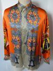 CREME DE SILK NEW Vintage Orange Uncle Sam Design 100% Silk Shirt M