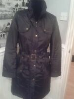 LADIES BLACK TRENCH COAT STYLE COAT LIGHTLY PADDED SIZE 10 WORN ONCE