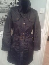 LADIES BLACK TRENCH STYLE COAT SMART CASUAL PADDED SIZE 10 OUTDOORS WARM VGUC
