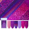 Holographic Starry Sky Nail Foils Purple Pink  Nail Art Stickers Tips