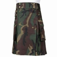 Tartan Republic Mens Camo Utility Combat Kilt Punk Goth Style with Pockets - 34
