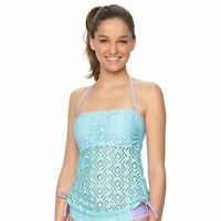 So Size XS S M  XL Aqua Purple Crochet Strapless Bandeau Tankini Halter Swim Top