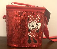 NWT Disney Minnie Mouse Lunch Box Tote Bag Red Sequins