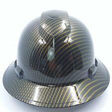FULL BRIM Hard Hat custom hydro dipped , NEW GOLD CANDY CARBON FIBER NEW