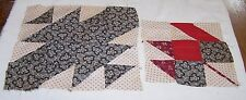 Two Antique Patchwork Quilt Blocks-Shirting-Cranberry Calico Fabrics-Repair-Art