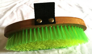 New Body Brush Green & Yellow Soft Bristles Finishing Grooming Strap Horse Tack