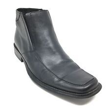 Men's Steve Madden Corall Chelsea Ankle Boots Shoes Size 9.5 M Black Leather P6