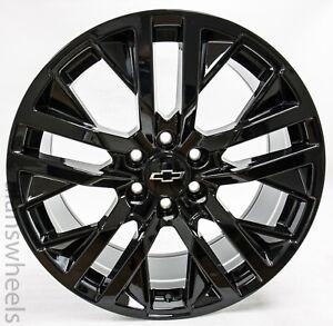 "4 New Chevy Suburban Tahoe Factory OEM Gloss Black 22"" Wheels Rims 5903 84799395"