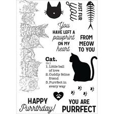 New kaisercraft RUBBER STAMP clear cling PAWFECT CAT SET Free US ship