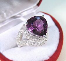 SPINEL & WHITE SAPPHIRE RING 8.84 CTW #6 WHITE GOLD over 925 STERLING SILVER
