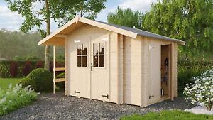 Gerätehaus 360x270cm + Anbau + Schleppdach + Fußboden Gartenhaus Holzhaus Holz