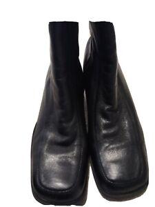 "CLARKS WOMENS BLACK LEATHER ""CUSHION SOFT"" ANKLE BOOTS UK SIZE 6.5 EU40"