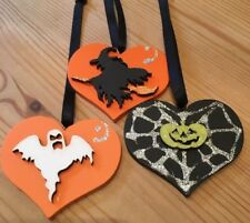 3 Halloween Decorations Handmade Hanging Witch Pumpkin Ghost Orange Black Silver