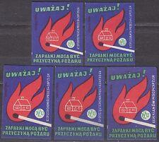 POLAND 1963 Matchbox Label - Cat.Z#405 set, Watch out! Matches can cause fire.