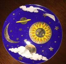 SUN MOON STARS PLANETS CLOUDS DEPARTMENT 56 1401-0 (4) PC DESSERT PLATES 7 3/4""