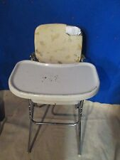 VTG 1970's cosco kids childs high chair WHITE metal chrome vinyl