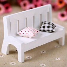 White Mini Wooden Bench Dolls House Miniature Garden Furniture Photography Prop