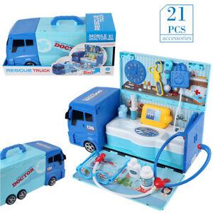 Portable Kids Pretend Doctor Medical Suit Case Toy Car Hospital Simulation Gift
