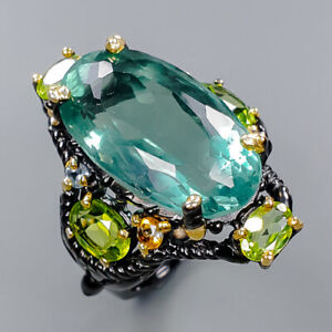 Fluorite Ring Silver 925 Sterling Sweet Emerald color AAA Size 8.75 /R149189