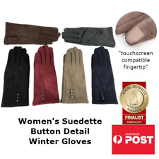 Women's Suede Touch Button Detail Insulated Winter Fashion Gloves