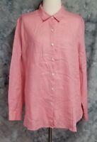 J Jill Womens sz M Pink Linen Long Sleeve Button Down Tunic Top