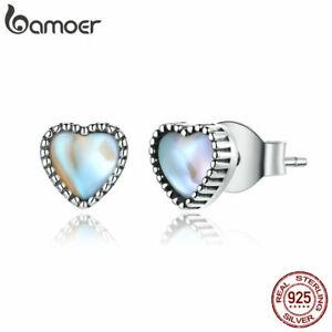 BAMOER Fine S925 Sterling silver Stud Earrings Heart of Glass for women Jewelry