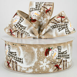 """Snowman with Buffalo Plaid Scarf Wired Ribbon Natural Tan 2.5"""" by 5 yd Christmas"""