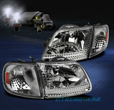 1997-2003 F-150/2002 EXPEDITION CRYSTAL HEAD LIGHT+CORNER+8000K HID CHROME/AMBER